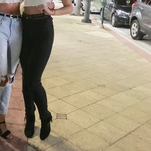 LF Carmar denim black skinny-straight leg